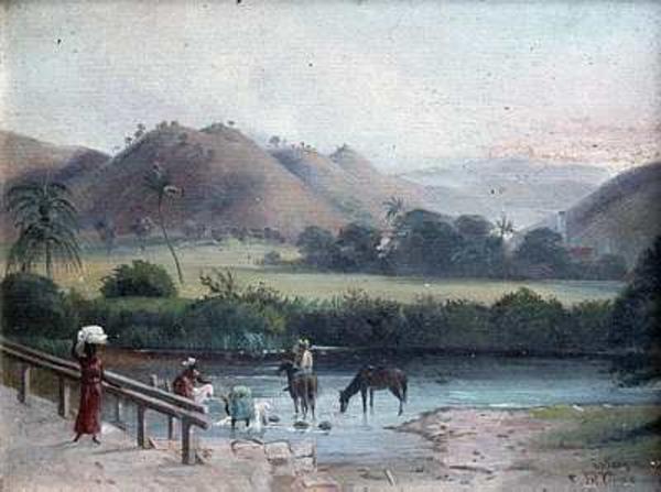 Parti fra Sankt Croix  Vaskeplads naer Westend  Frederik Visby  1866  Handels  og Soefartsmuseet