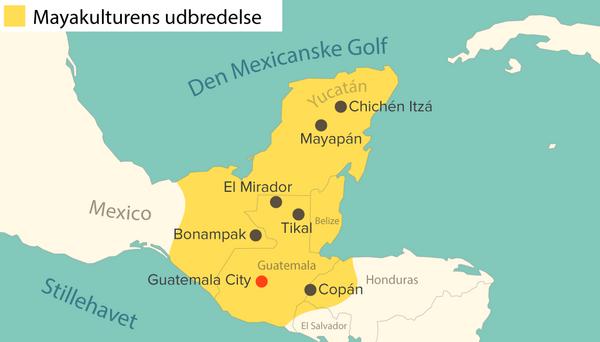 kort mayakulturens udbredelse DK