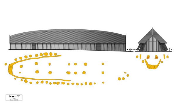 lokalhistorie  lejre  tegning as hus stolper af Valentin  Roskilde Museum
