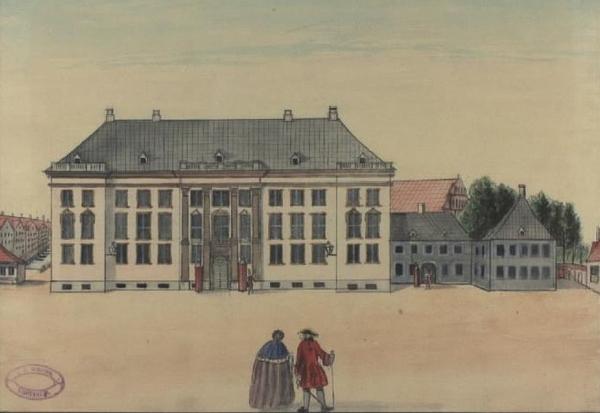 Charlottenborg  Knud Gamborg  tegner 1828 1900   Charlottenborg  1749    efter forlaeg af Rach   Eegberg