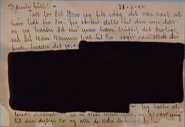 Brevkort  som har vaeret gennem den tyske censur  28  Juni 1944  Nationalmuseet