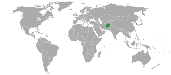 Afghanistan and South Korea on the world map