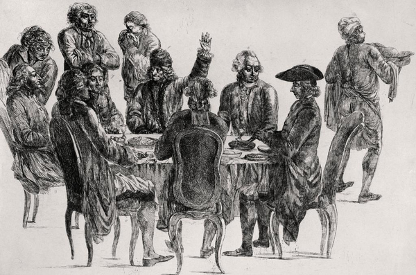 Voltaire at the table with his father Adam  D Alembert and Condorcet  Engraving by Jean Huber  1721 1786  Credit The Art Archive and DeA Picture Library