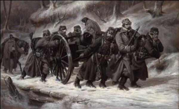 NielsSimonsen DanskeinfanteristertrkkerenkanonlavetvedtilbagetogetfraDannevirkestillingen1864 1864 FotoOleHaupt DetNationalhistoriskeMuseumFrederiksborgSlot
