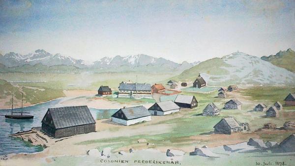 Paamiut  Frederikshaab  i Vestgroenland tegnet under en ekspedition i 1878